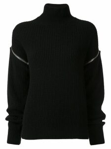 MSGM zipped sleeve rollneck jumper - Black