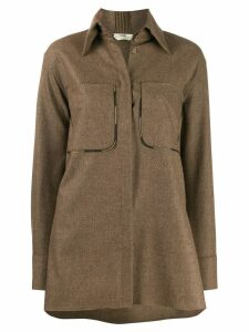 Fendi patch pocket shirt - Brown