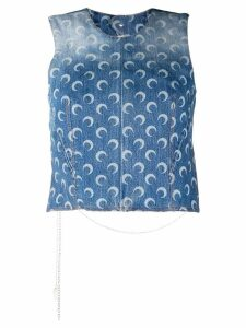 Marine Serre open back denim top - Blue