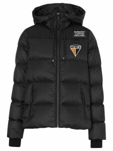 Burberry logo graphic hooded puffer jacket - Black