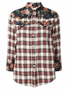 R13 check print shirt - White