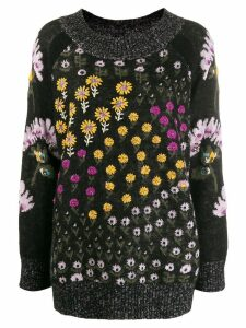 Twin-Set floral intarsia knit jumper - Black