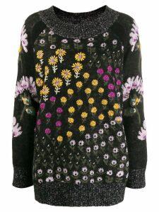 Twin-Set floral intarsia knit jumper - Black