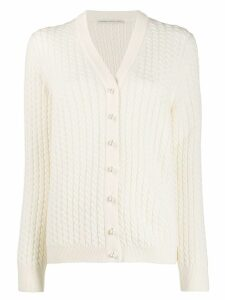 Alessandra Rich pearl button cardigan - NEUTRALS