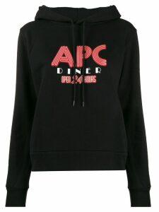 A.P.C. logo print hoodie - Black