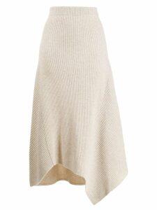 Pringle of Scotland knitted asymmetric skirt - NEUTRALS