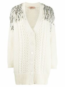 Twin-Set sequin knitted cardigan - Neutrals
