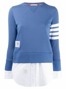 Thom Browne 4-Bar Loopback Jersey Sweatshirt - Blue
