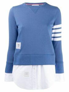Thom Browne 4-Bar Loopback Jersey Sweatshirt - Blue