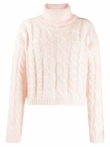 Twin-Set cable knit polo jumper - PINK