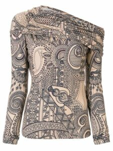 Roberto Cavalli printed off-shoulder top - NEUTRALS