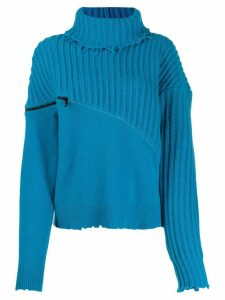 UNRAVEL PROJECT roll neck zipped jumper - Blue