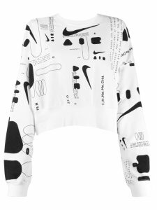 Nike cropped printed sweater - White
