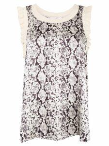 Cinq A Sept snakeskin-print Lenore top - White