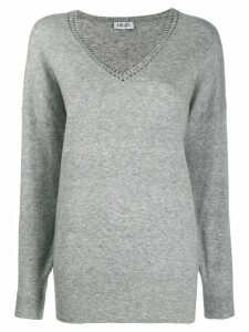 LIU JO embellished v-neck sweater - Grey