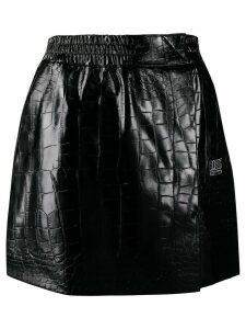 Brognano crocodile effect mini skirt - Black