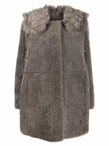 Yves Salomon concealed placket coat - Grey