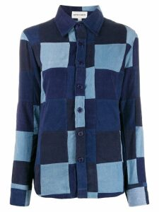 Antik Batik patchwork denim shirt - Blue