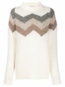 Woolrich zigzag knit jumper - White