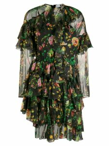 MSGM floral print ruffled dress - Black