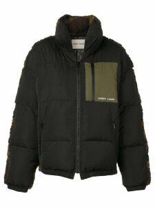 Sandy Liang camouflage shearling coat - Black