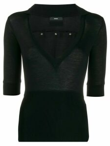 Diesel V-neck jersey top - Black