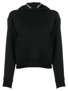 Karl Lagerfeld embroidered logo hoodie - Black