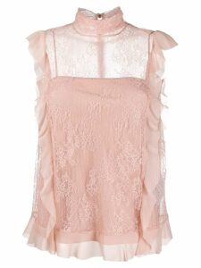 RedValentino Dentelle Fleurs lace blouse - PINK