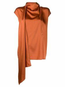 Fabiana Filippi draped neck blouse - ORANGE