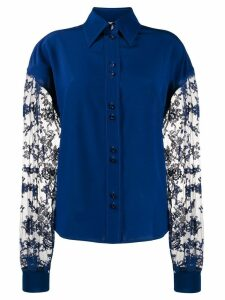 Givenchy floral lace long-sleeved blouse - Blue
