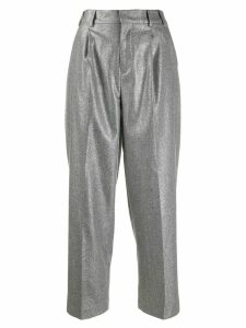 Pt01 metallic cropped trousers - SILVER