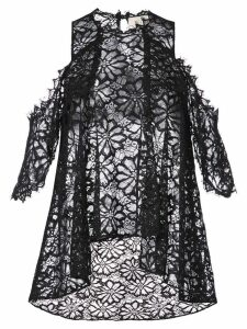 Nicole Miller lace flared pattern transparent top - Black