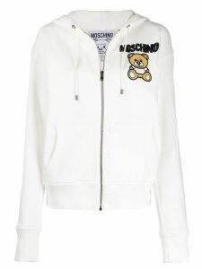 Moschino beaded teddy bear zipped hoodie - White