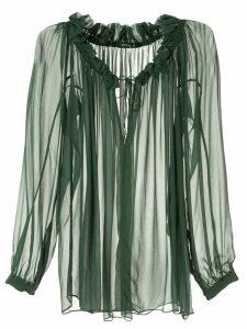 Kitx ruffled neckline blouse - Green