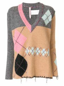 Antonio Marras metallic stitch V-neck sweater - Multicolour