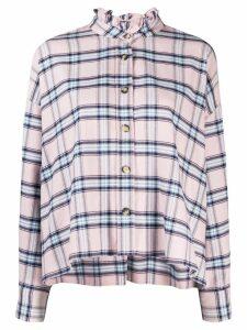 Isabel Marant Étoile plaid ruffle neck shirt - PINK