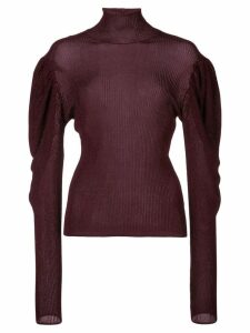 Caroline Constas puff-shoulder ribbed jumper - Purple