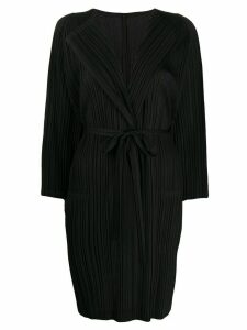 Pleats Please Issey Miyake plissé belted cardigan - Black