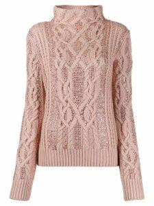 Ermanno Scervino embellished cable knit sweater - Pink