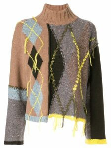 Antonio Marras asymmetric roll neck sweater - Multicolour