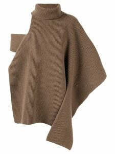 Ports 1961 ribbed roll neck knitted top - NEUTRALS