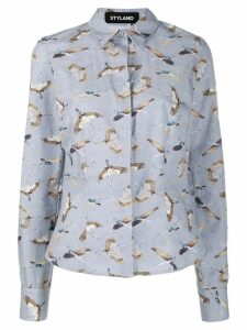 Styland bird print shirt - Blue