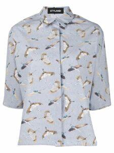 Styland bird print shirt - Blue