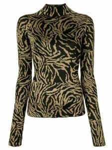 Proenza Schouler Zebra Jacquard Turtleneck Top - Black