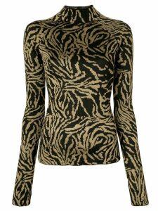 Proenza Schouler Zebra Jacquard Turtleneck Top - Black