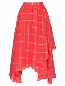 Mara Hoffman Akila asymmetric windowpane check-print skirt - Red