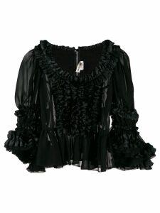 Comme Des Garçons sheer ruffled blouse - Black