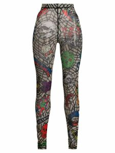 KTZ Death Metal Spider Web leggings - NEUTRALS