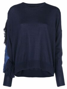 Nude fringed cut-out jumper - Blue