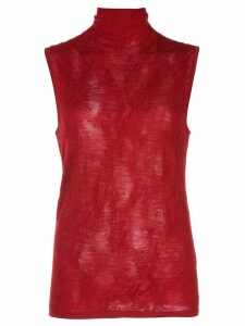 Helmut Lang turtleneck knitted top - Red